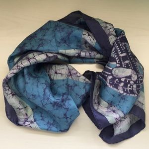 Vintage artisan beautiful batik silk scarf